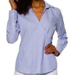 camisa listrada com amarracao principessa joyce frente transpasse
