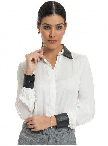 Camisa Social Detalhe Couro Principessa Jasmine