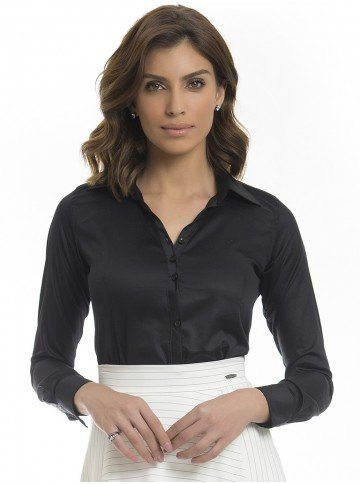 camisa feminina preta mardjane frente