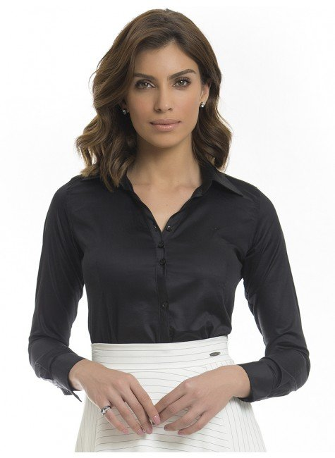 20b84613b6c99 Camisa Social Feminina Preta Principessa Mardjane