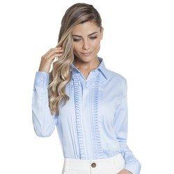 camisa feminina azul com drapeado principessa savia geral mini