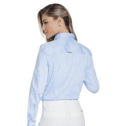 camisa feminina azul com drapeado principessa savia modelagem mini