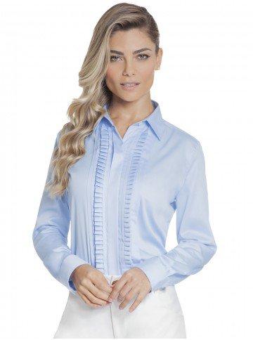 camisa feminina azul com drapeado principessa savia frente