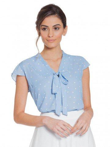 blusa azul de poa gola de laco