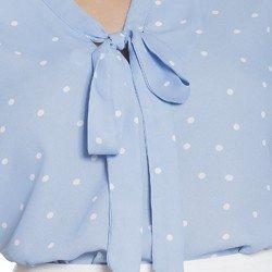 blusa gola laco poa azul principessa jessica descricao tecido gola