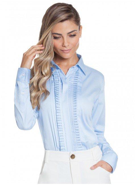 camisa drapeados azul principessa savia frente 2