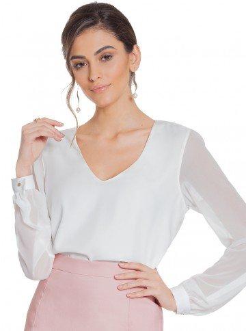 blusa off white manga transparente principessa ravena frente