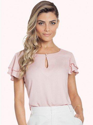 blusa feminina rose com manga gode principessa veridiana fundo rosa