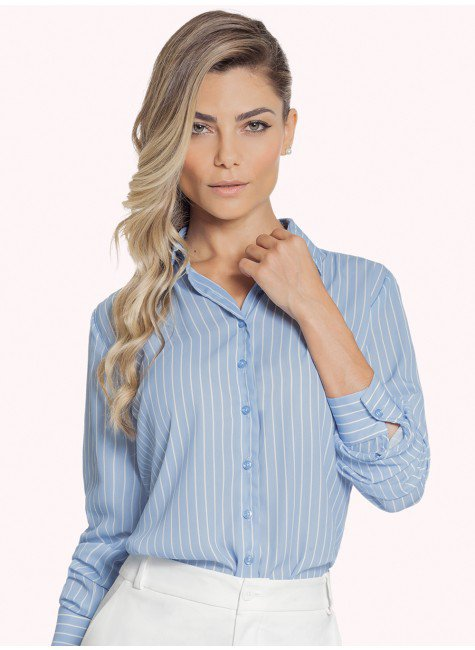 camisa femininia social listrada azul claro principessa silvana fundo