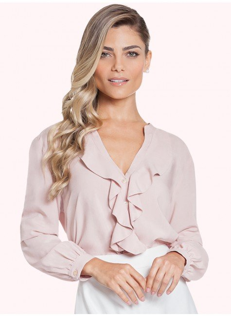 camisa feminina rose babado principessa kate frente