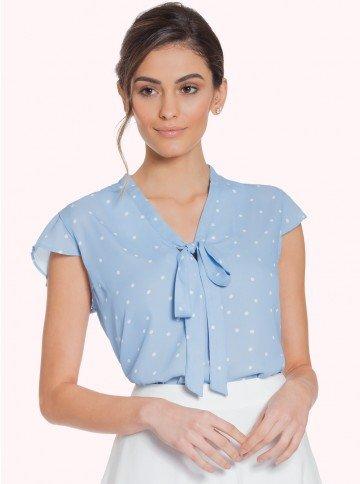 blusa poa azul principessa jessica frente