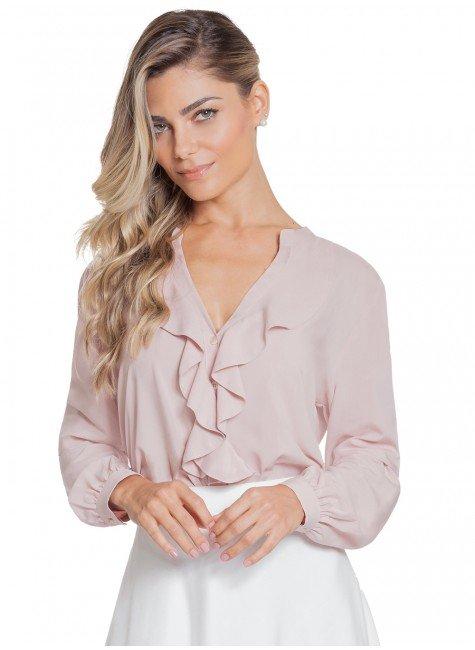 Camisa Tendência Rosê com Babado Principessa Kate 344248babe2b2