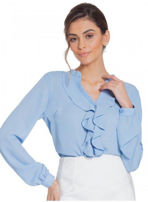 61497cf8ca Camisa Feminina Azul com Babado Principessa Zoraide