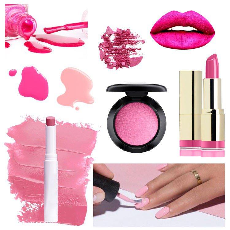 rosa na maquiageme na esmaltaria