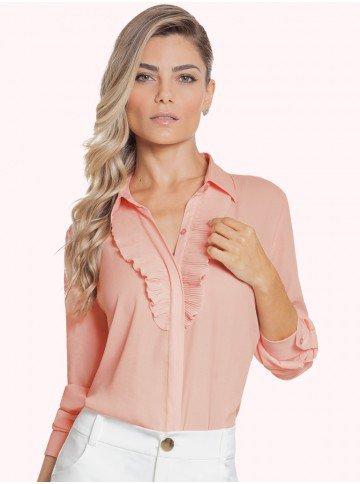 camisa rosa bebe plissado principessa lucineia frente