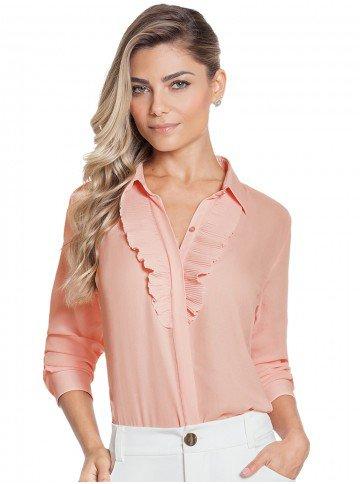 camisa rosa bebe plissado principessa lucineia frente 2