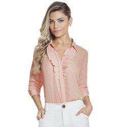 camisa rosa bebe plissado principessa lucineia frente geral