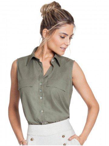 camisa sem manga verde militar principessa liandra frente