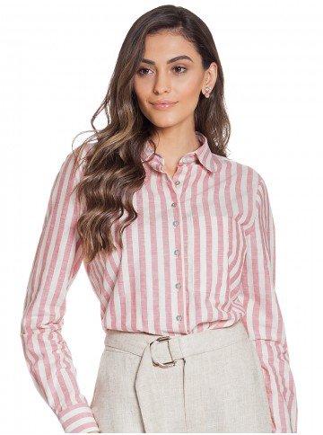 camisa social feminina listrada rose principessa hilda frente