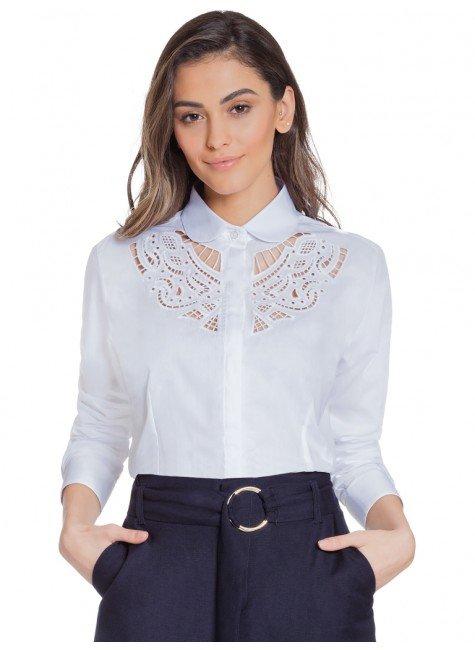 camisa branca bordado vazado principessa naiana frente