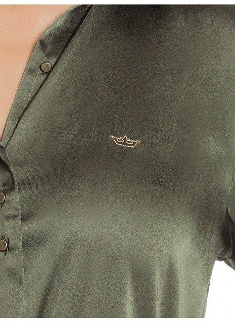 ... camisa de cetim feminina verde militar social principessa daiana loho  ... 5e81b5adf408f