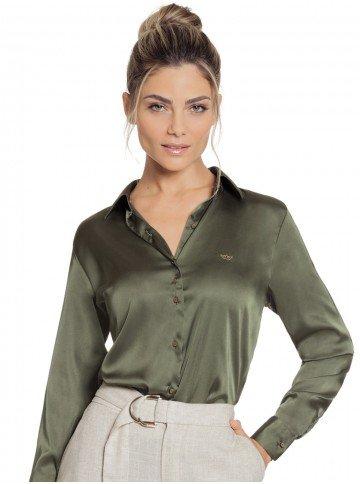 240f0a0631 camisa de cetim feminina verde militar social principessa daiana look
