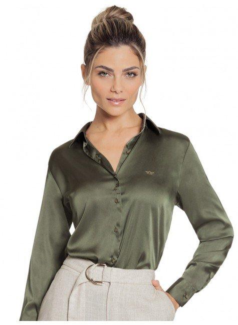 camisa de cetim feminina verde militar social principessa daiana look