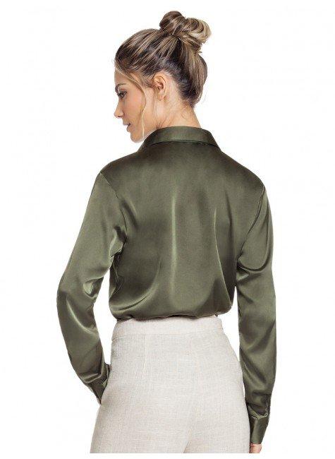 ... camisa de cetim feminina verde militar social principessa daiana look  costa ... 4bf77996e27be