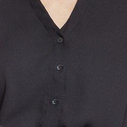 camisa preta com detalhes couro principessa stephanie botoes
