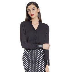 camisa preta com detalhes couro principessa stephanie geral