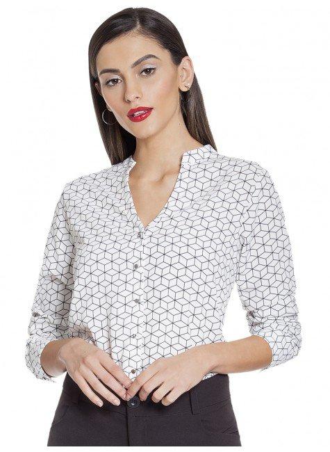 camisa estampa geometrica principessa antonella frente