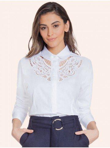 camisa social bordado vazado branco principessa naiana frente