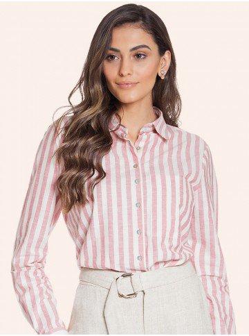 camisa social listrada rose principessa hilda frente