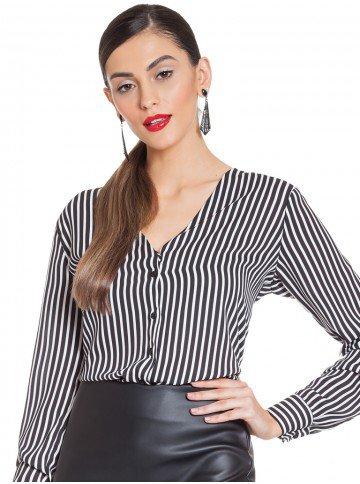blusa listrada preta branca principessa iracema frente 2