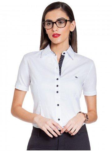 Camisa Feminina Social Branca com Detalhes Crislaine