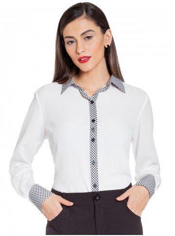 camisa branca pied de poule principessa catarina frente
