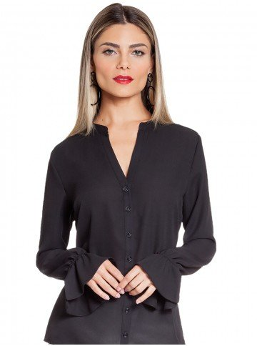 blusa preta com drapeados principessa margarida frent