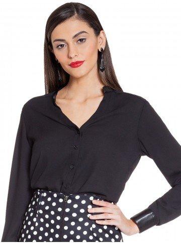 blusa preta com couro principessa stephanie frente