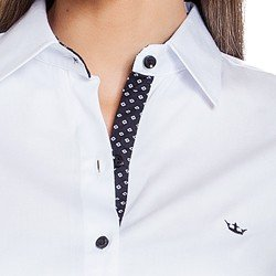 camisa social branca principessa crislaine detalhes