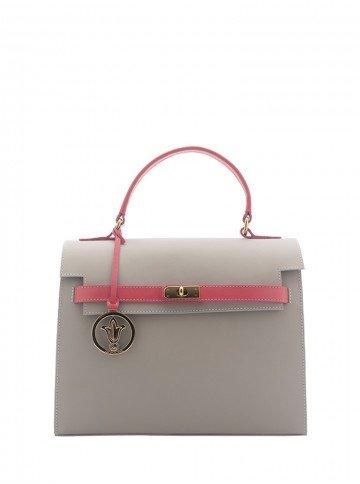 bolsa feminina alexia cinza rosa frente