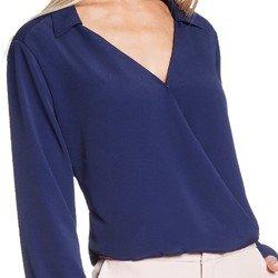 camisa marinho transpassada decote v principessa tiana detalhes