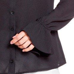 blusa preta com drapeados costas principessa margarida detalhes