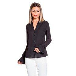 blusa preta com drapeados costas principessa margarida geral