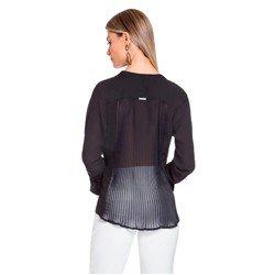 blusa preta com drapeados costas principessa margarida model