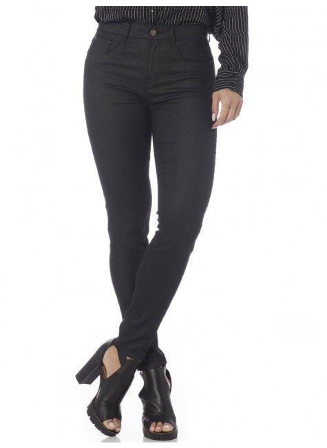 calca preta resinada com barra ziper denim zero dz2651 frente