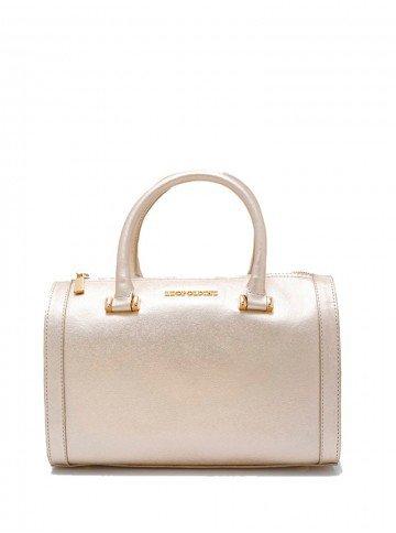 bolsa bau de couro dourada leopoldine grace frente