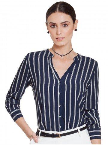 camisa azul marinho com listras principessa adilene frente