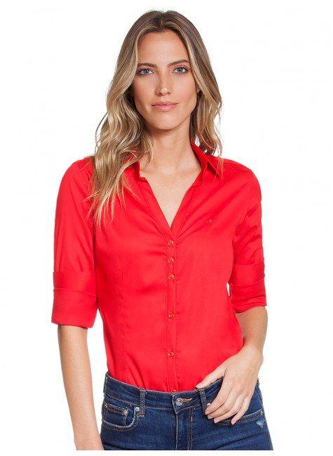 af0ab16e1 Camisa Social Feminina Vermelha com Elastano Principessa Klara