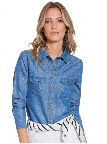 Camisa Jeans Feminina Maquinetada Principessa Emma