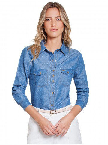 camisa maquinetada jeans principessa emma frente 2